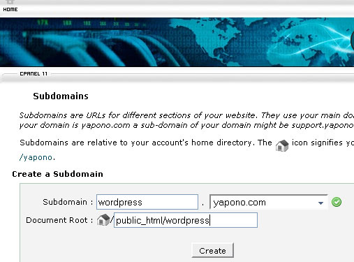 cpanel Create SUbdomain